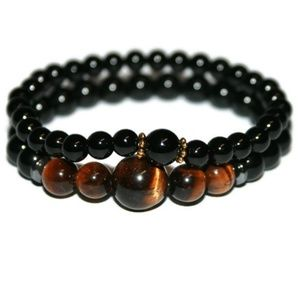 Onyx & Tiger Eye Bracelet Set for Men